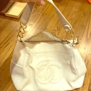 Rare Chanel white 3 loop lambskin tote bag